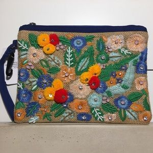 Handbags - Floral Colorful Beaded Clutch Wristlet Pom Poms